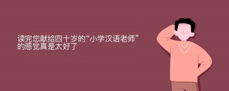 """读完您献给四十岁的""""小学汉语老师""""的感觉真是太好了"""